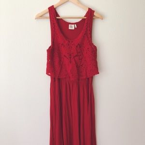Anthropologie Red Embroidered-Lace Dress
